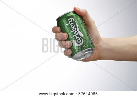 Kuala Lumpur,Malaysia 9th April 2015,hand holding a can of the carlsberg beer drink