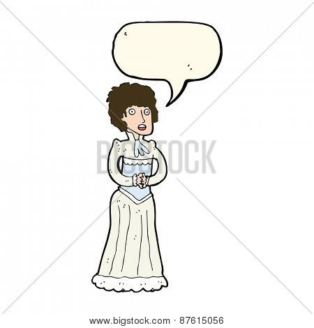 cartoon shocked victorian woman with speech bubble