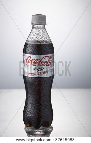 Kuala Lumpur,Malaysia 9th April 2015,bottle of the coca cola light on the white background