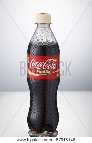 Kuala Lumpur,Malaysia 9th April 2015,bottle of the coca cola vanilla on the white background