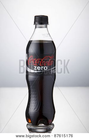 Kuala Lumpur,Malaysia 9th April 2015,bottle of the coca cola zero on the white background