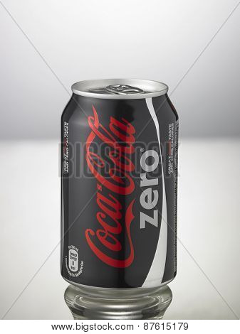 Kuala Lumpur,Malaysia 9th April 2015,can of the coca cola zero on the white background