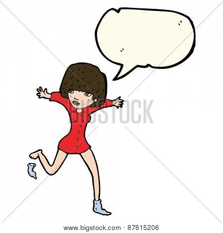 cartoon woman kicking off sock with speech bubble