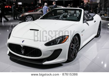 NEW YORK - APRIL 1: Maserati exhibit GranTurismo Convertible MC Centennial at the 2015 New York International Auto Show during Press day,  public show is running from April 3-12, 2015 in New York, NY.