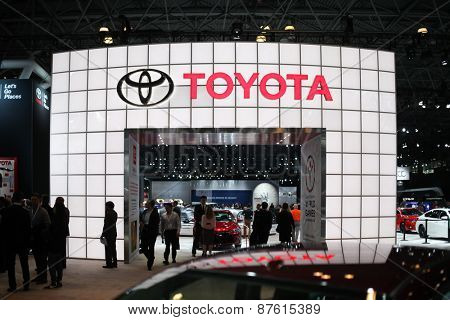 NEW YORK - APRIL 1: Toyota exhibit  at the 2015 New York International Auto Show during Press day,  public show is running from April 3-12, 2015 in New York, NY.