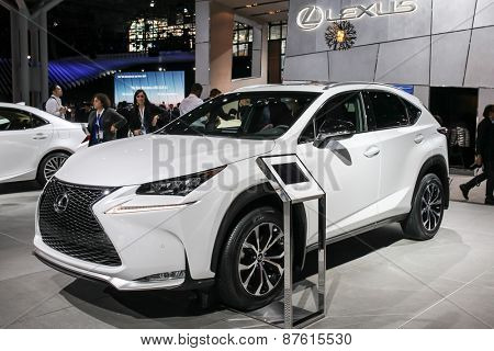 NEW YORK - APRIL 1: Lexus exhibit Lexus NX 200t at the 2015 New York International Auto Show during Press day,  public show is running from April 3-12, 2015 in New York, NY.