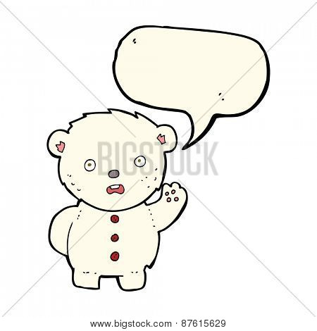 cartoon unhappy polar teddy bear with speech bubble