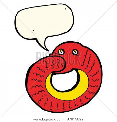 cartoon snake eating own tail with speech bubble