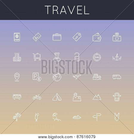 Vector Travel Line Icons