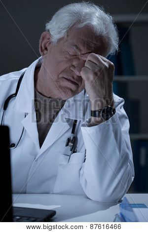 Aged Medic Having Sinus Pain