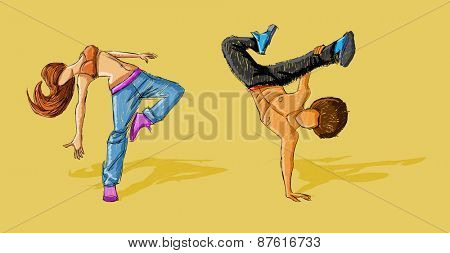 Hip hop dancer couple. Breakdance.