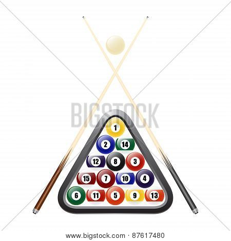 Billiards Balls, Triangle And Two Cues