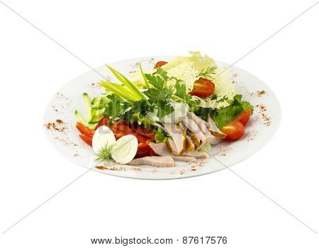 Salad with meat, vegetables and quail eggs