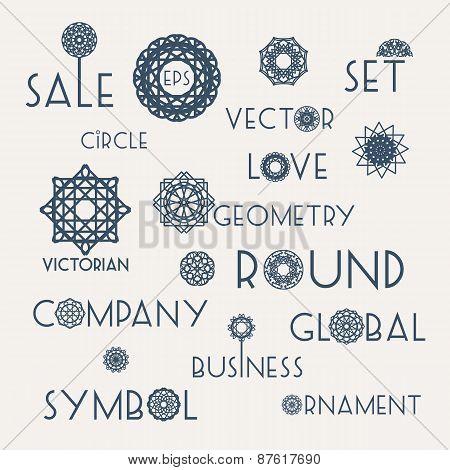 Round symbols with slogans