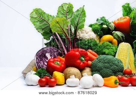 Fresh raw organic vegetable produce assortment