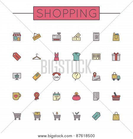 Vector Colored Shopping Line Icons