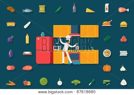 Chief Cook Food and Dish Room Kitchen Furniture House Interior Icons Symbols Set Flat Design Vector