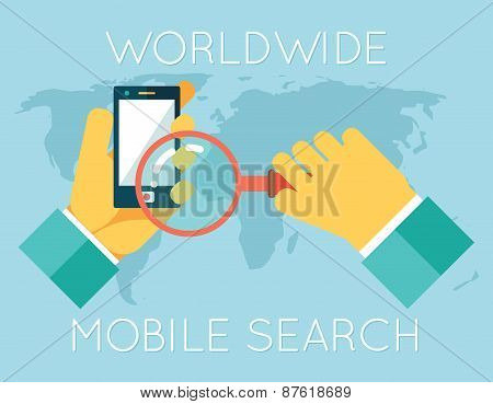 Worldwide Mobile Search Hands Phone Magnifying Glass Icons on World Map Background Flat Design Conce