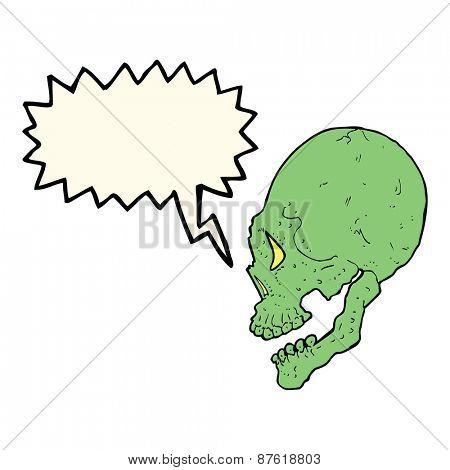 spooky skull illustration with speech bubble