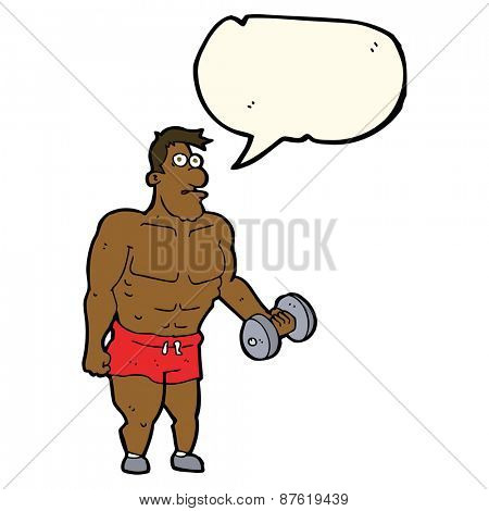 cartoon man lifting weights with speech bubble