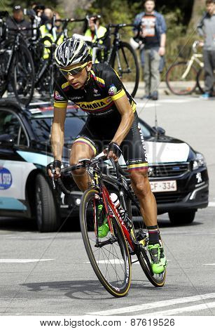 BARCELONA - MARCH, 29: Walter Pedraza of Colombia Team rides during the Tour of Catalonia cycling race through the streets of Monjuich mountain in Barcelona on March 29, 2015