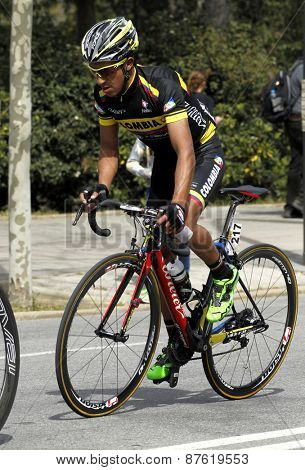 BARCELONA - MARCH, 29: Cayetano Sarmiento of Colombia Team rides during the Tour of Catalonia cycling race through the streets of Monjuich mountain in Barcelona on March 29, 2015