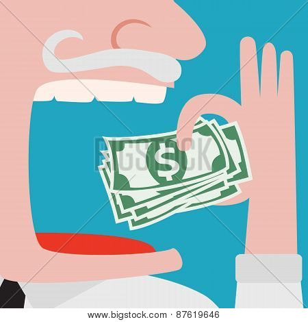 Greedy Businessman Eating Green Cash Dollars
