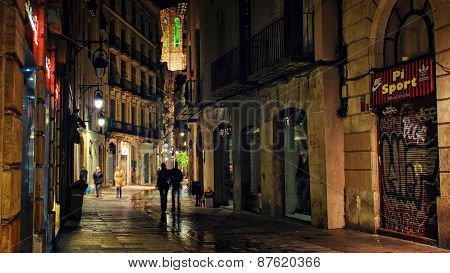 Gothic Wuarter At Night, Barcelona