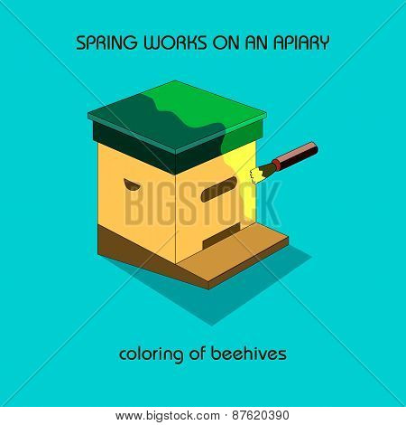 Coloring Of Beehives (spring Work)