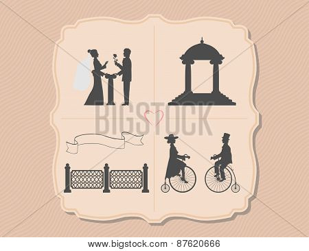 Various wedding invitations with bicycles, garden, flower, ribbon