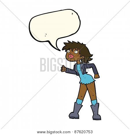 cartoon girl in leather jacket with speech bubble
