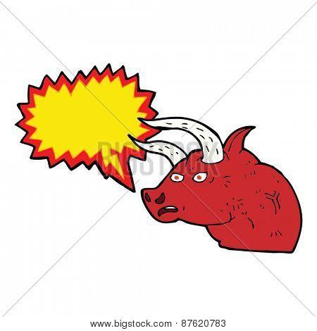 cartoon angry bull head with speech bubble