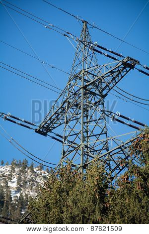 Power Mast Of A High Voltage Transmission Line