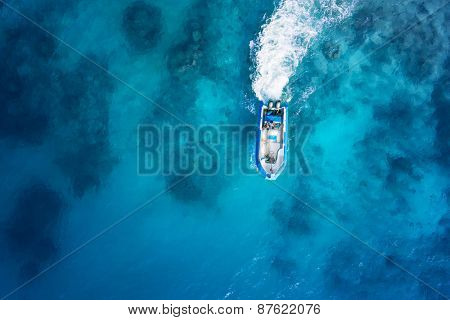 Speed boat on the azure sea.