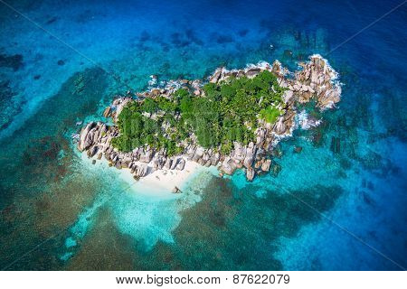 Beautiful view to Seychelles Coco island.