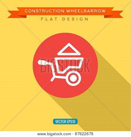 Wheelbarrow full of sand into flat style, vector illustration