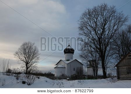 Russian winter. Church of Saint Elijah the Prophet at the Vybuty Pogost near Pskov, Russia.
