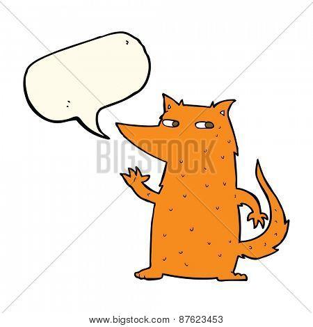 cartoon fox waving with speech bubble