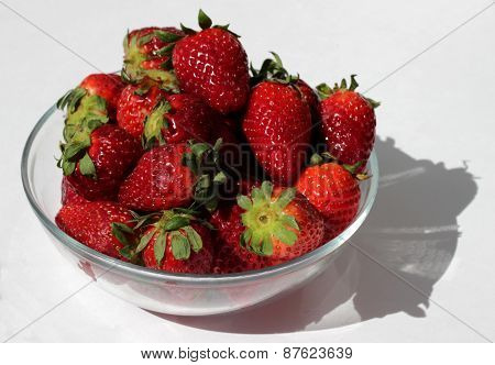 Strawberry on the glass plate