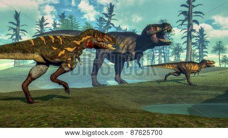 Nanotyrannus hunting small tyrannosaurus - 3D render