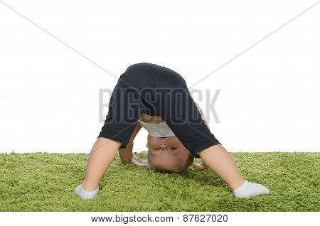 Little Girl Makes The Slopes On Carpet