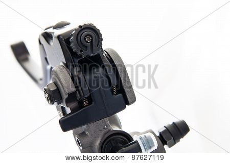 A Black Motorcycle Lever Isolated On White