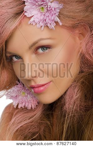 Beautiful  Happy Woman With Pink Hair And Flowers
