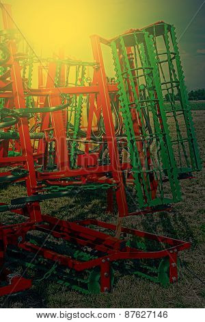 Agricultural Equipment In Sunset Light. Detail 8