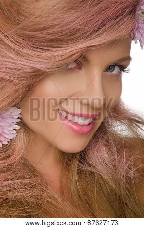 Happy Woman With Pink Hair And Flowers