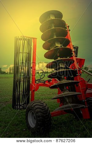 Agricultural Equipment In Sunset Light. Detail 22