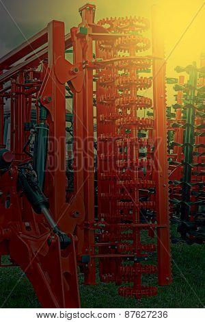 Agricultural Equipment In Sunset Light. Detail 2