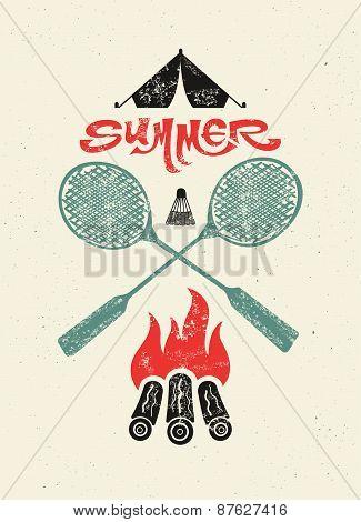Summer camp typographic retro grunge poster. Vector illustration.