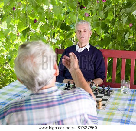 Pensioners Talking In Garden