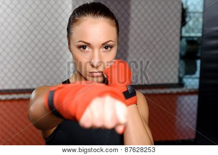 Girl fighting in a ring